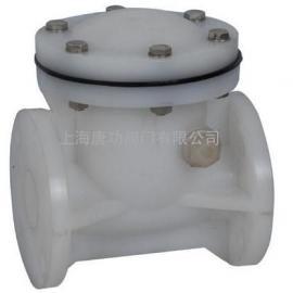 唐功PVDF塑料旋启式止回阀 强酸强碱化工止回阀