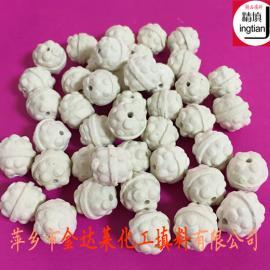 开孔菠萝瓷球 45-75%氧化铝反应器开孔菠萝球 金达莱
