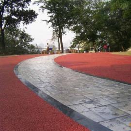 吉林白城生态环保工程压模地坪 彩色压模混凝土路面