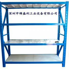 深圳中型货架,四层仓储货架,沙井仓库物品存放架,500公斤货架