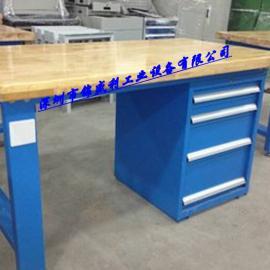 50mm厚榉木工作桌,榉木台面四工位钳工桌,挂板四抽工作桌