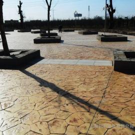 水泥压模路面 艺术压模地坪 彩色压膜路面