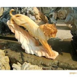 汉白玉老虎雕塑 晚霞红老虎雕刻厂家