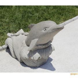 汉白玉雕刻小鱼 花岗岩雕刻海豚厂家 美人鱼雕塑定制