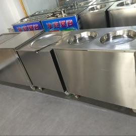 炒冰机商用炒酸奶机炒奶果机双头圆锅雪花酪泰式 炒冰淇淋卷
