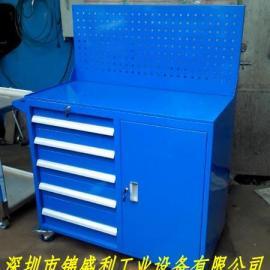 单门五抽工具车,方孔挂板工具柜,榉木台面工具柜