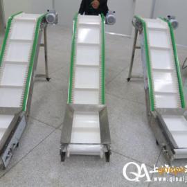 爬坡皮带输送机,裙边挡板爬坡机,大倾角皮带机,上海沁艾机械