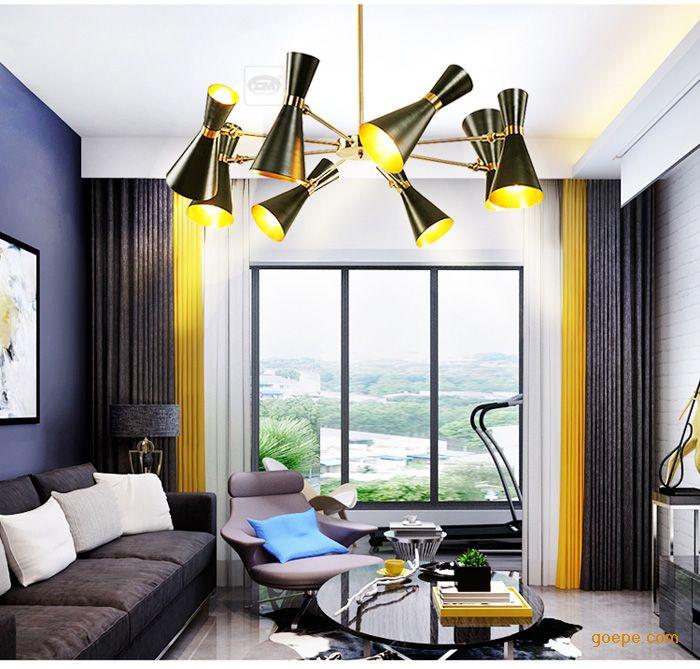 北欧创意别墅大厅客厅后现代餐厅个性工业风服装店喇叭吊灯