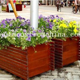 供应城市街道景观组合花箱 实木花箱 景观花架