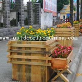 广场商业街木质组合景观花盆 花箱 花架 花槽