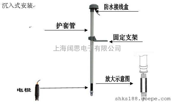 污水厂玻璃电极护套 沉入式玻璃/塑壳电极护套PP-200A