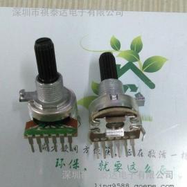 深圳厂家R1216G塑胶轴电位器双联弯带螺牙套电位器