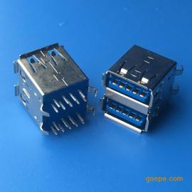 双层180度USB 3.0母座AF双层插板DIP弯脚 直插