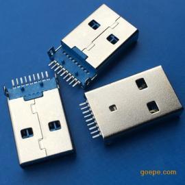 贴片3.0公头沉板USB A公沉板1.9有柱SMT贴板焊板