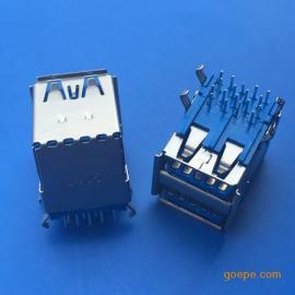 双层3.0母座USB双层短体90°弯脚插板17.5卷边蓝胶