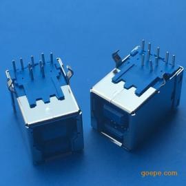 USB B母3.0/母座9P-90度弯脚插板 B型蓝色胶芯