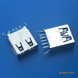 插板USB 3.0母座180度直插弯脚dip立式直边卷边
