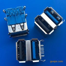 USB双层2.0+3.0弯脚90度插板13P母座-弯脚卷边