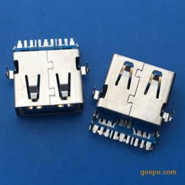 USB 3.0沉板母座AF 11P沉板大电流直边SMT蓝胶