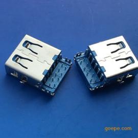 3.0母座USB 沉板4.4直边90度插板 四脚/沉板蓝胶