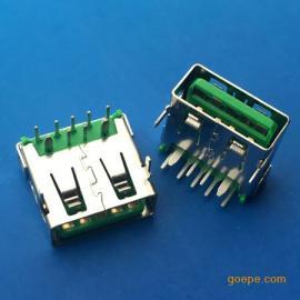 快充OPPO 9P大电流USB母座5V-5A两脚插板绿色