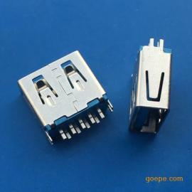 夹板USB3.0母座AF夹板0.8-1.0直边蓝色胶芯短体