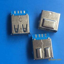USB 3.0焊线带护套AF9P母座180度焊线带外壳蓝胶
