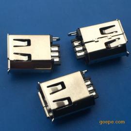 1394焊线式6P母座D TYPE 180度焊线带卷边铁壳