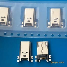全贴/MICRO 5P公头四脚贴板SMT超薄贴片带卡勾焊板