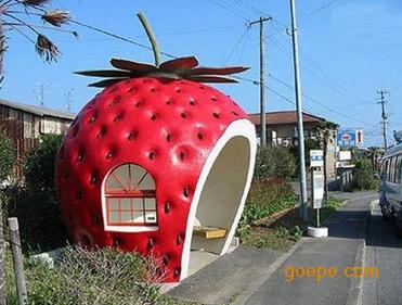 定制玻璃钢草莓雕塑 水果蔬菜雕塑 园林景观雕塑 卡通