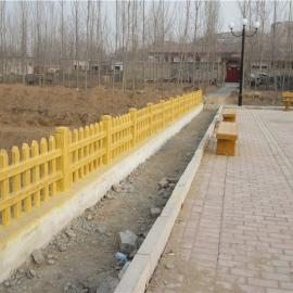 水泥仿木栅栏、仿树桩草坪栅栏、草坛护栏,挡土墙。