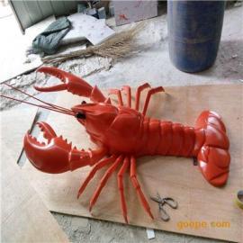 玻璃钢小龙虾雕塑 仿真动物雕塑 广告宣传雕塑 饭店迎宾雕塑