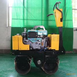 全液压0.8吨小型手扶式压路机双辊轧道机玫瑰庄园振动碾
