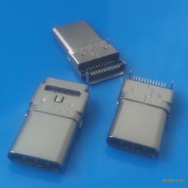Type-c沉板公头 双排针SMT 贴片式插头 双包壳贴板