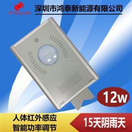 黑龙江太阳能路灯厂家,鸿泰HT-D12W智能感应庭院灯