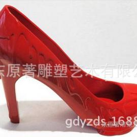 东莞雕塑厂家促销1米玻璃钢高跟鞋雕塑 高跟鞋工艺品摆件