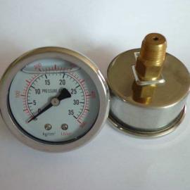 轴向充油不锈钢耐震压力表