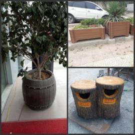 四川省成都市 仿木花箱 仿树桩垃圾桶原装现货