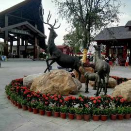 东莞原著铸铜雕塑厂家供应铸铜鹿雕塑 园林景观雕塑摆件