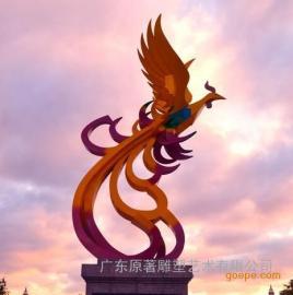 广东原著雕塑厂制作不锈钢凤凰雕塑 优质广场主题雕塑批发