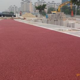 修文透水路面材料 彩色强固透水混凝土自行车道