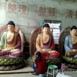 广东佛像雕像厂家 玻璃钢三宝佛佛像寺庙雕塑价格东莞原著制作