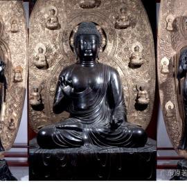 供应东方三圣铜像一套 寺庙雕塑价格 广东佛像工厂制作