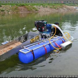 南美虹吸泵抽沙高强塑料做边浮体的小型淘金船也叫虹吸式淘金船