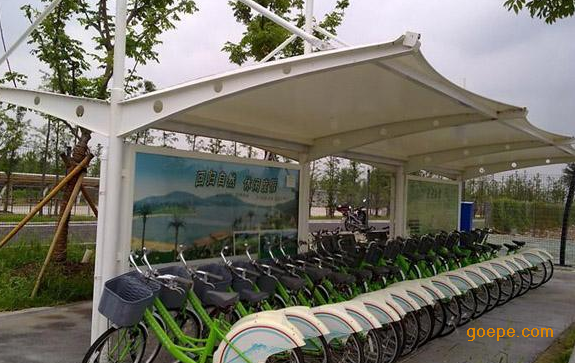 黄石钢膜结构自行车棚