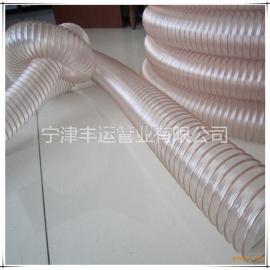 宁津丰运PU钢丝吸尘管聚氨酯透明钢丝伸缩管木工集尘管