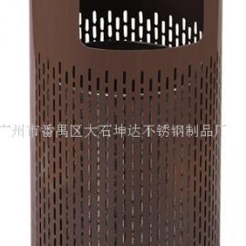 批发铁烤漆户外垃圾桶 圆柱形冲孔单桶带烟灰缸果皮箱
