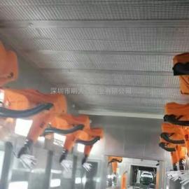 汽车配件三喷三烤往复机+机械手自动喷漆线,环保废气废水处理
