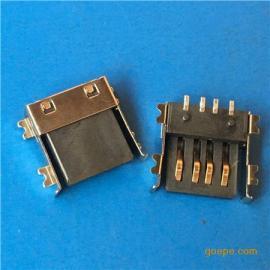 USB超薄A母座全贴片SMT超薄H4.6半包贴板有卷边黑胶