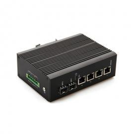 千兆2光3电手拉手串联级联节点式工业级光纤收发器宽温卡轨式